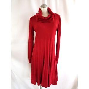Calvin Klein Size M Red Knit Sweater Dress